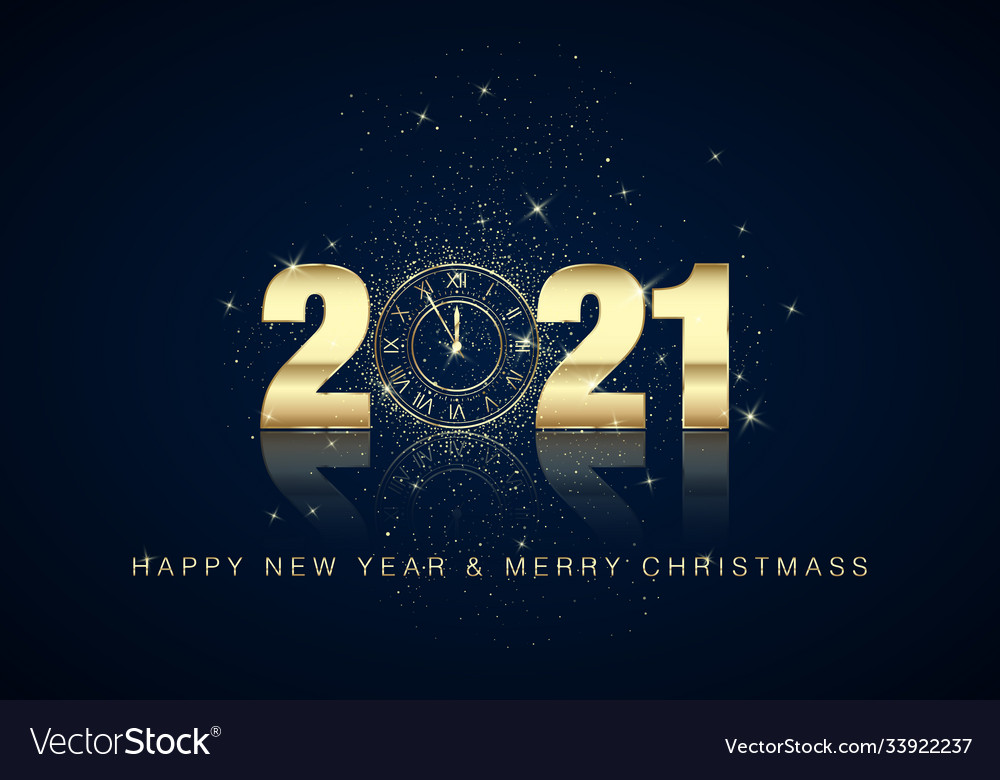 Golden clock dial with numbers 2021 on magic