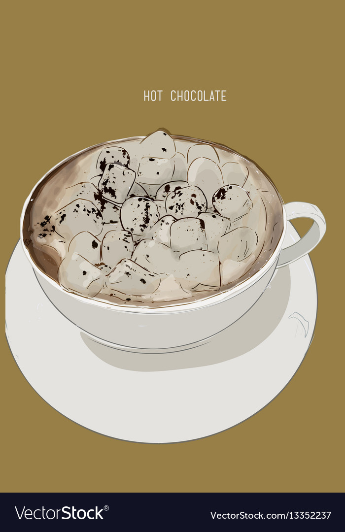 Hot chocolate cup with marshmallows vector image