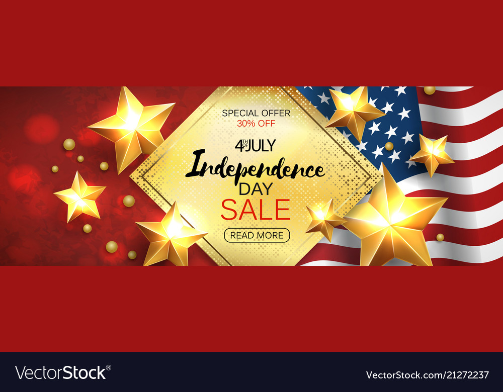 Independence day sale banner with golden stars anf