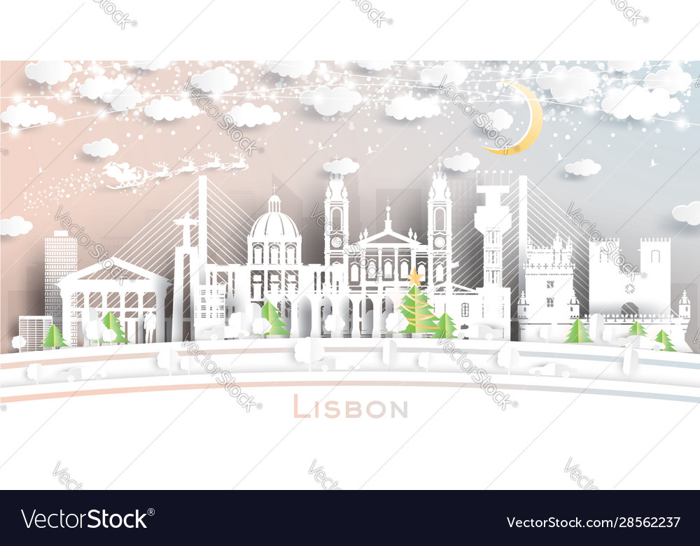 Lisbon portugal city skyline in paper cut style