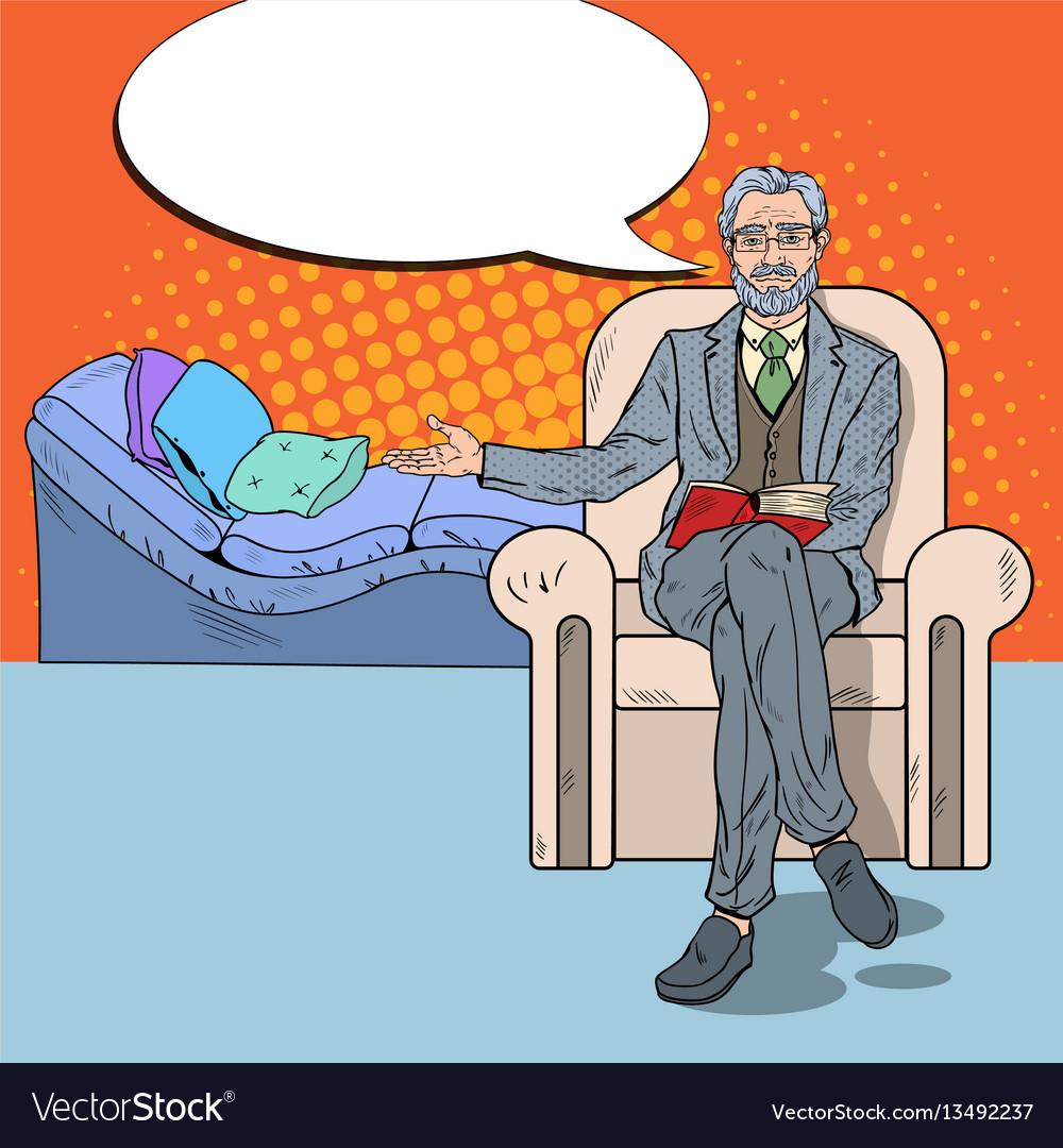 Pop art senior psychotherapist with comic speech
