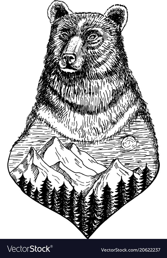 Stylized bears head with nature landscape