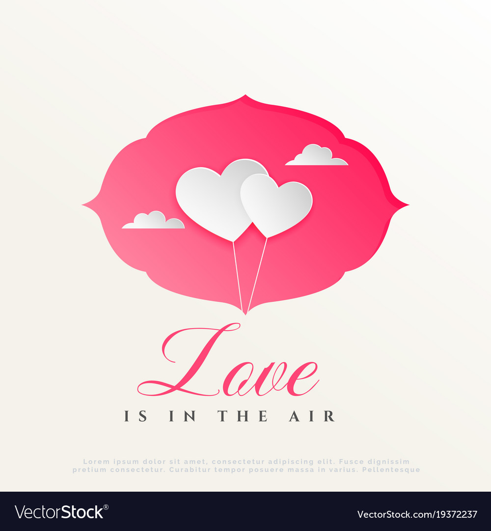 Two paper style hearts balloon with clouds happy vector image