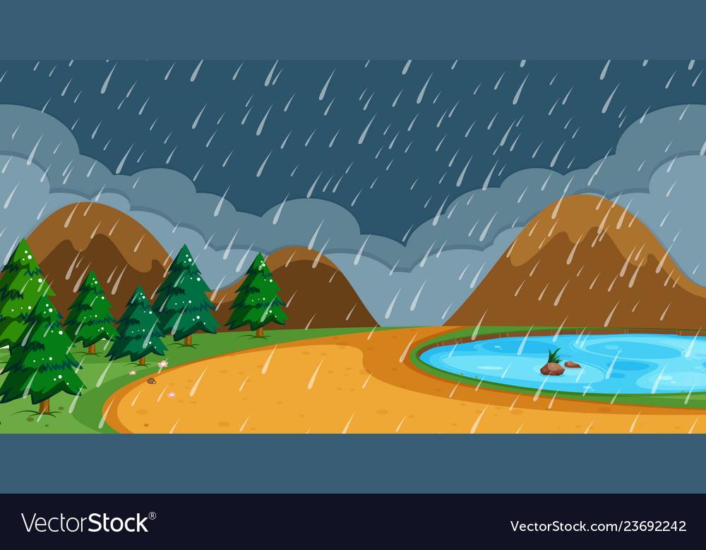 Beach in rainy season