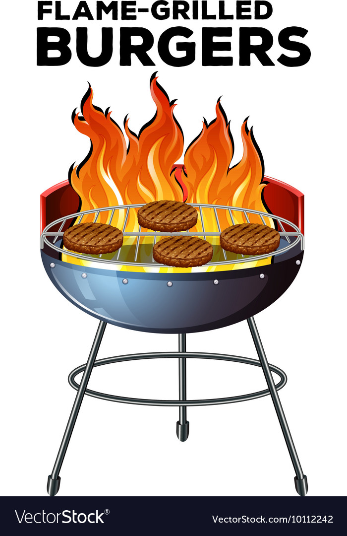 Burger cooking on the flame-grilled