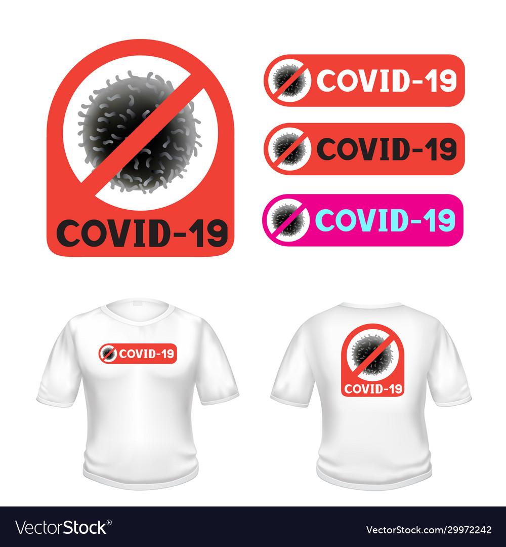 Covid-19 stop coronavirus t-shirt sticker Vector Image