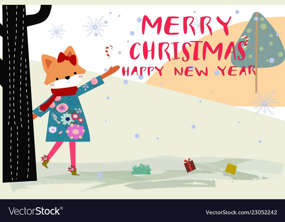 Cute merry christmas girl and animal cartoon card