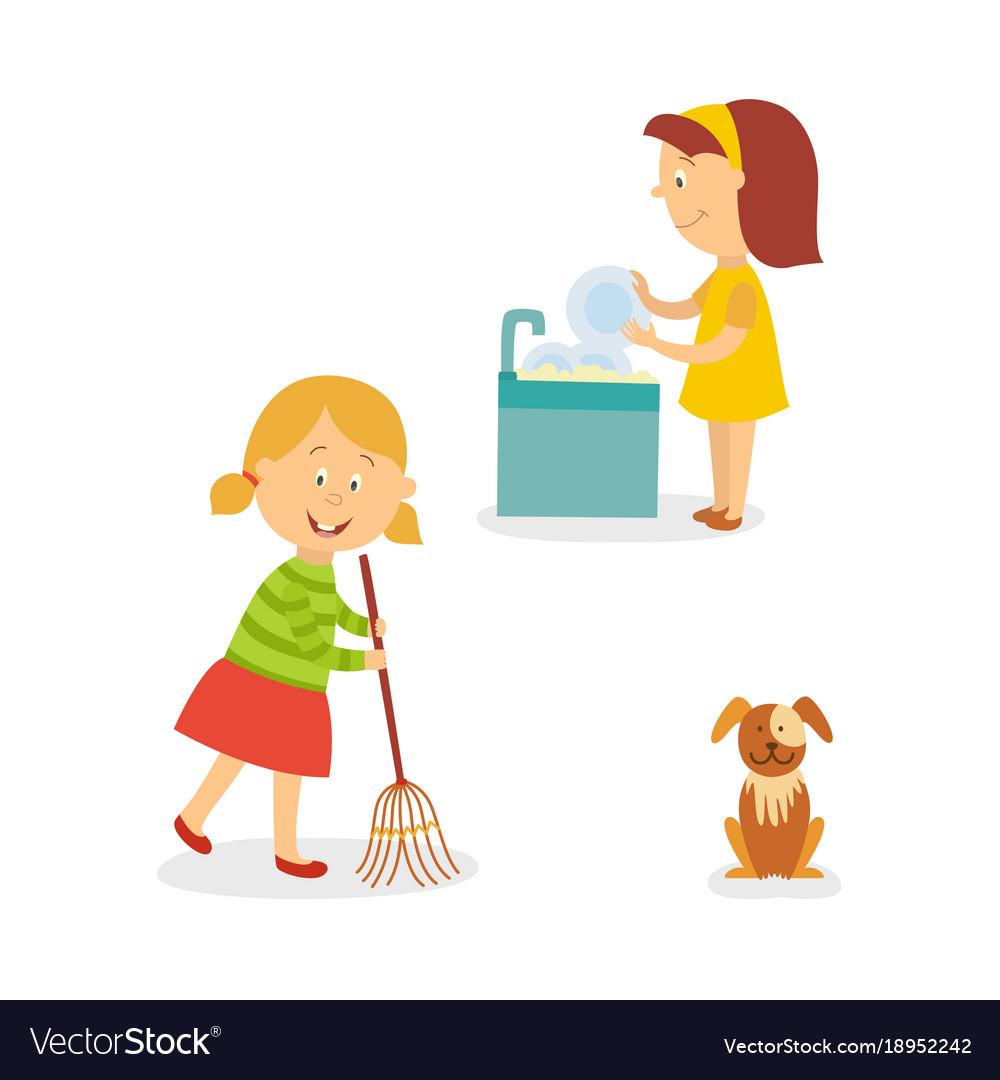 Flat kids doing household chores set vector image