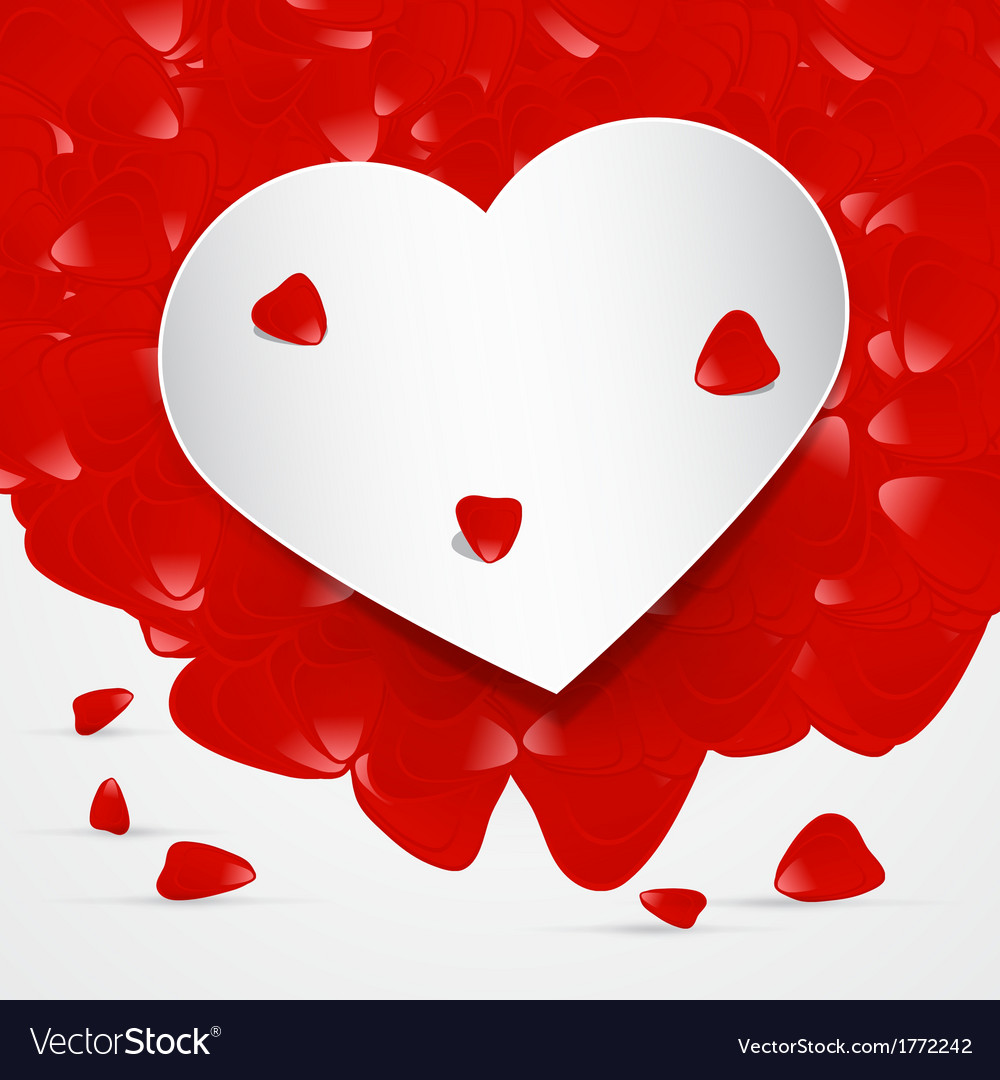 Heart With Red Leaves vector image
