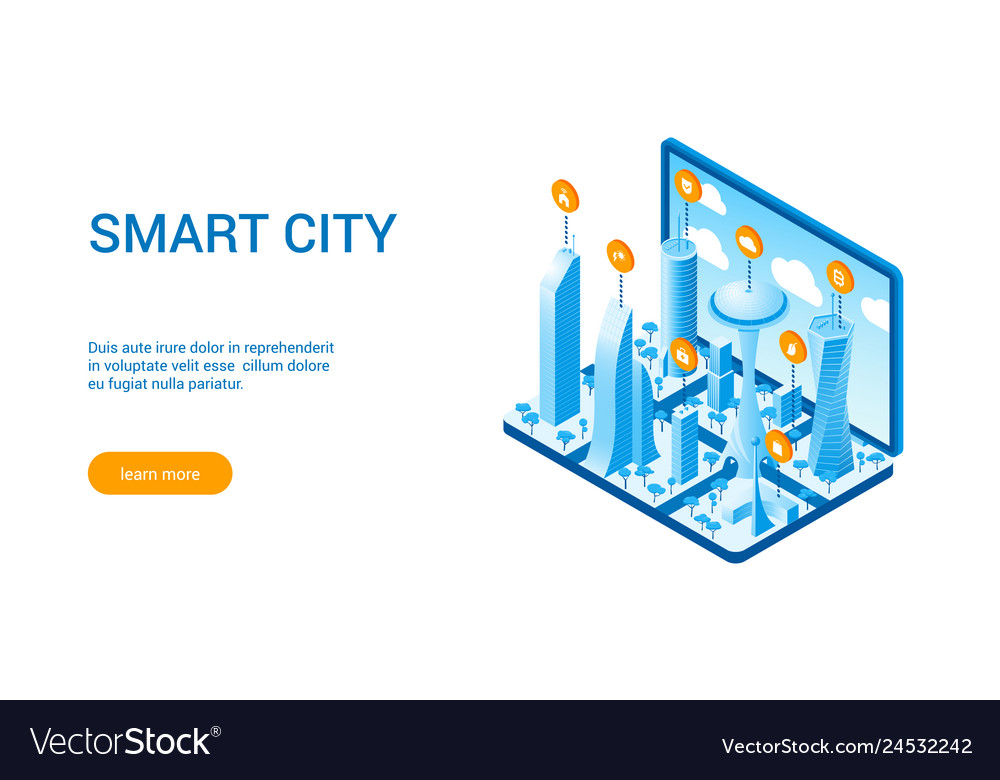 Isometric smart cityscape