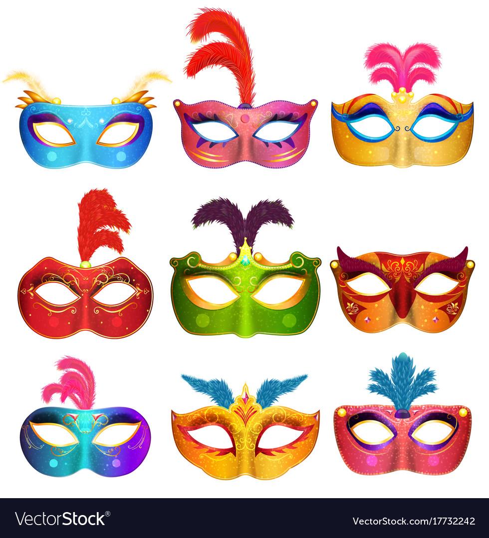 mardi gras venetian handmade carnival masks vector image
