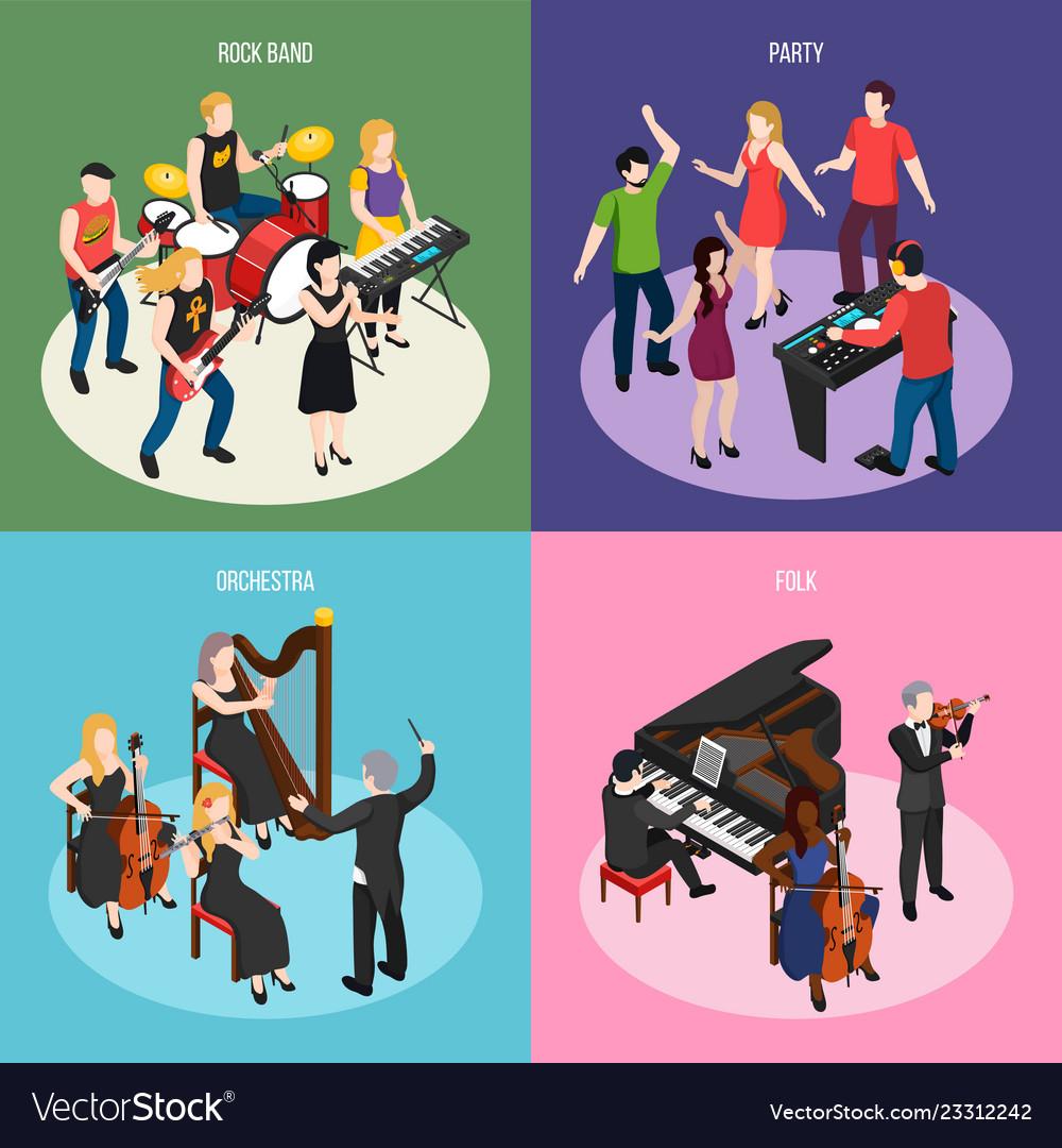 Musicians isometric design concept