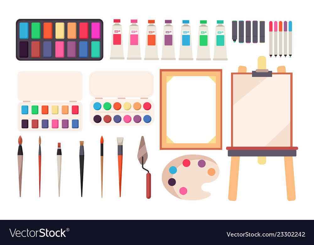 Painting tools cartoon paintbrush and canvas