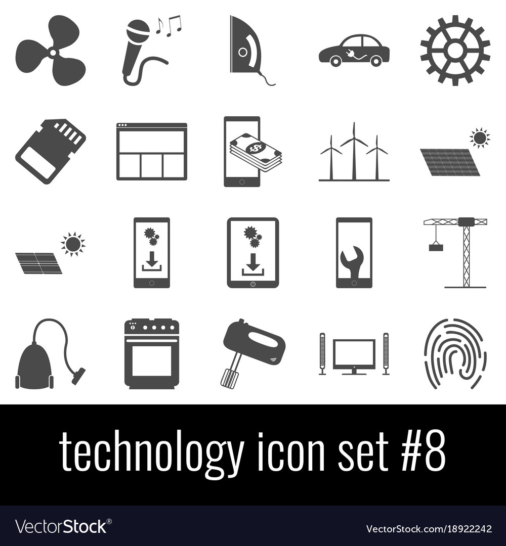 Technology icon set 8 gray icons on white