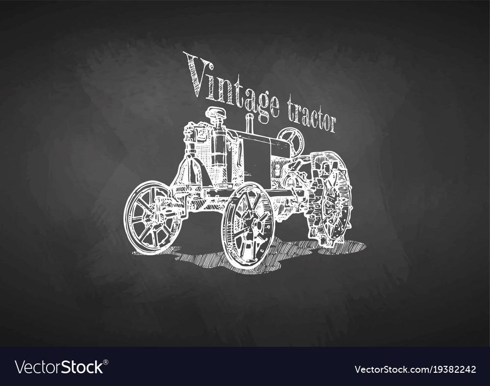 Tractor on blackboard
