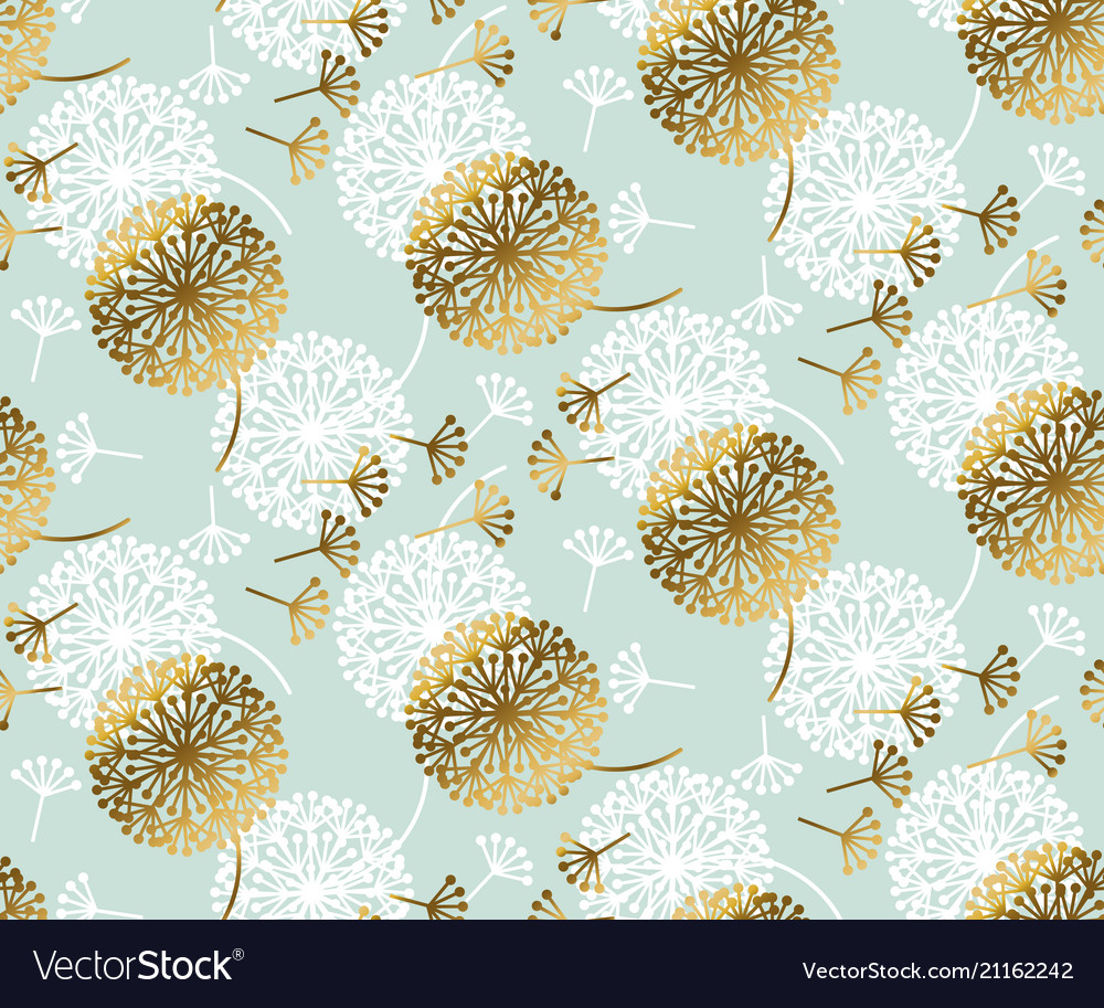 Turquoise and gold dandelion seamless pattern