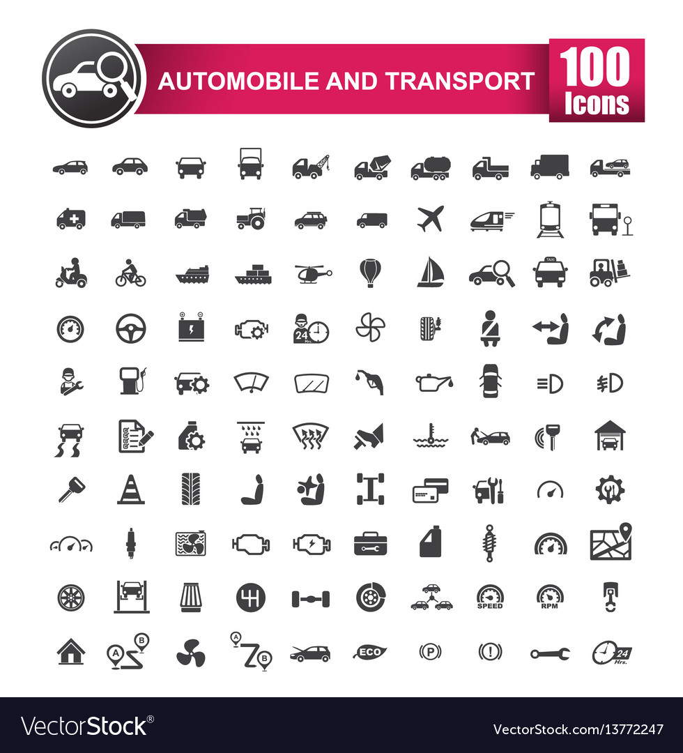 100 icons set of auto transport and logistic