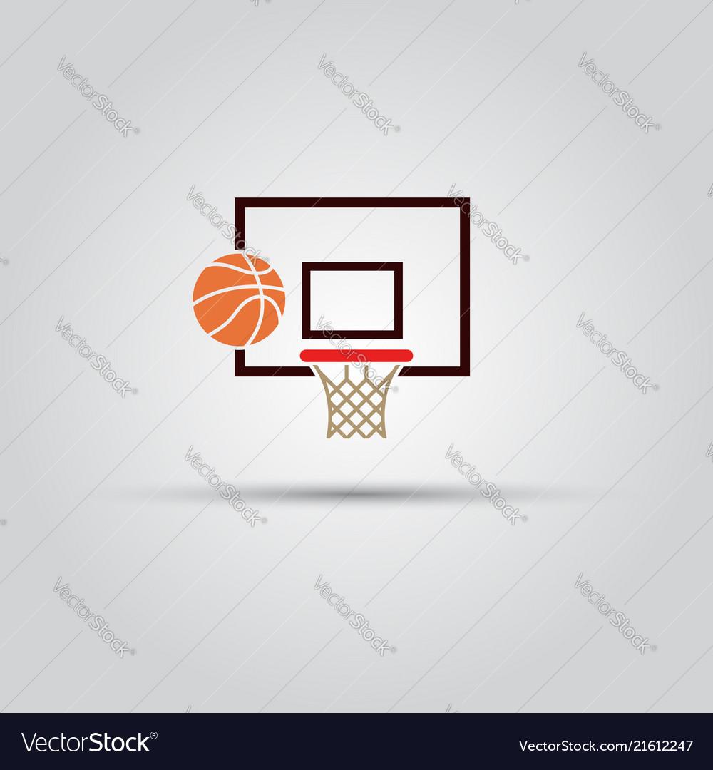 Basketball backboard and ball colored sign