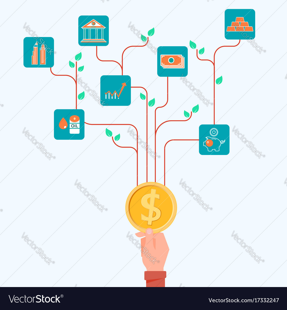 Concept of financial and investment tree growing
