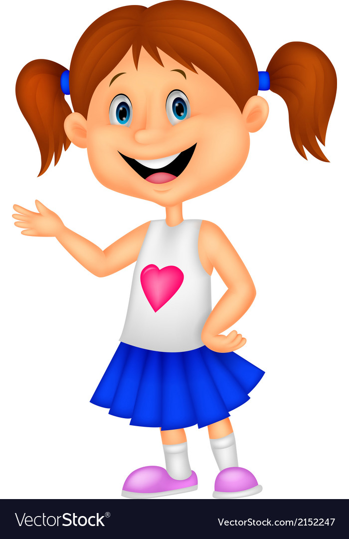 Happy cute girl cartoon stock illustration. Illustration ...