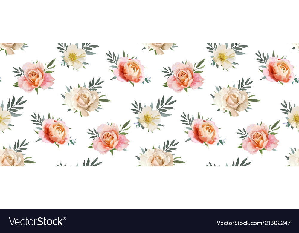 Floral seamless rose flowers pattern background