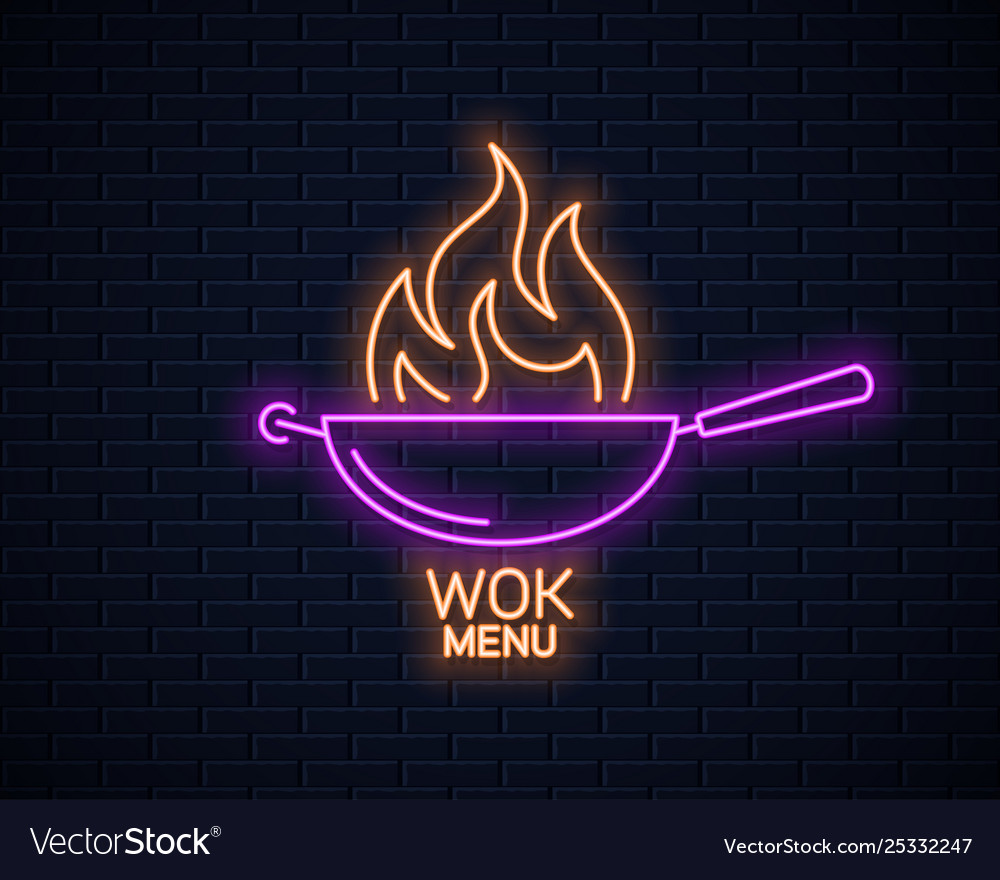 Frying pan neon sign wok with fire flame neon