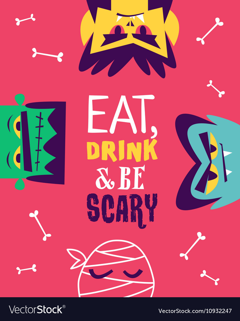 Funny invitation flyer for halloween party