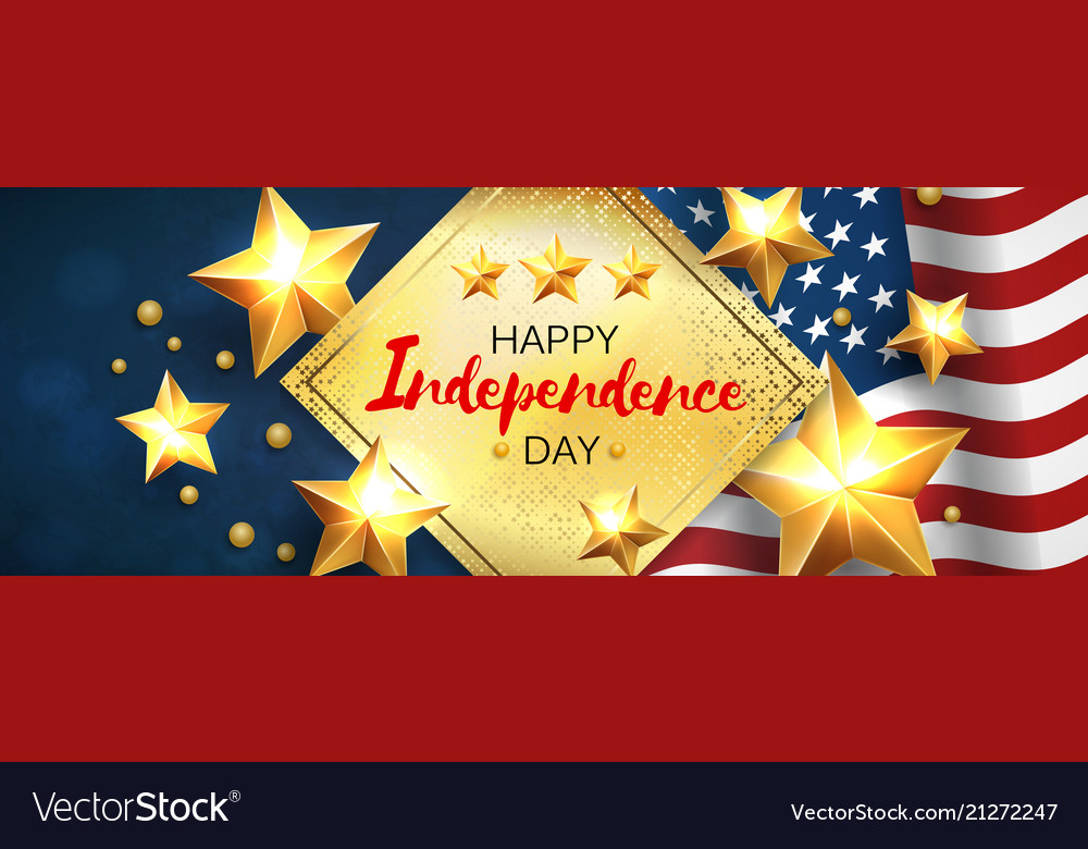Independance day greeting banner with golden stars