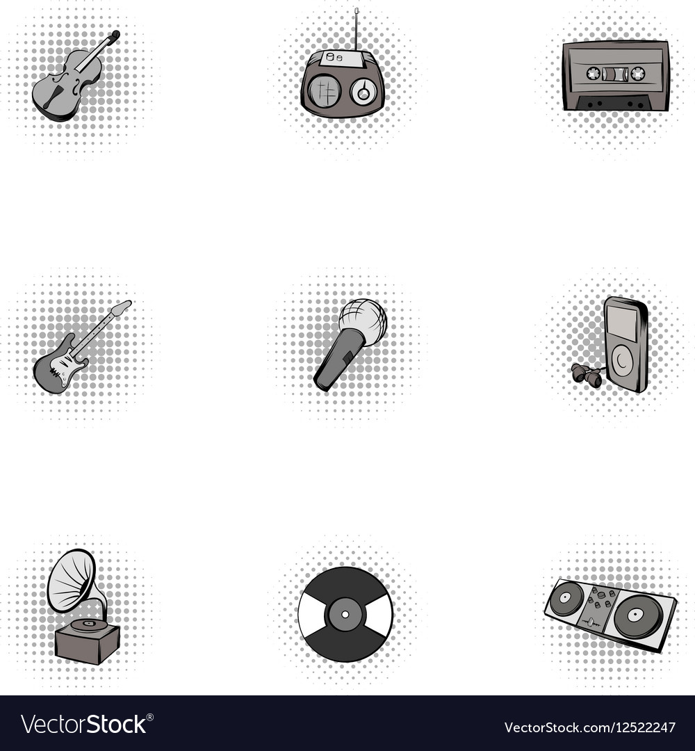 Musical tools icons set pop-art style