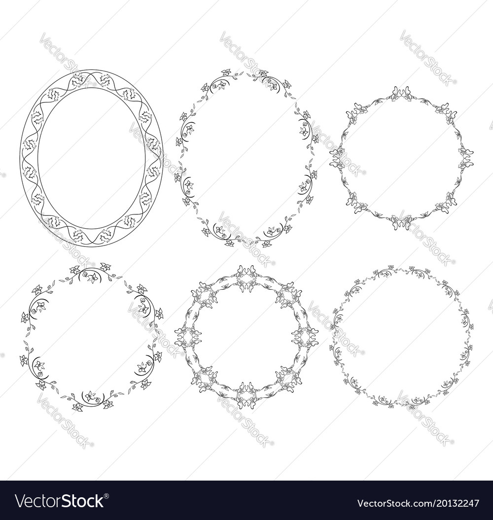 Oval and round floral frames with flowers Vector Image