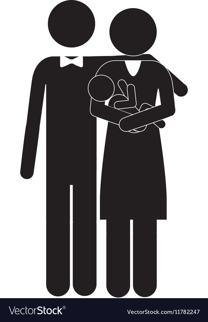 Pictogram family with baby in arms
