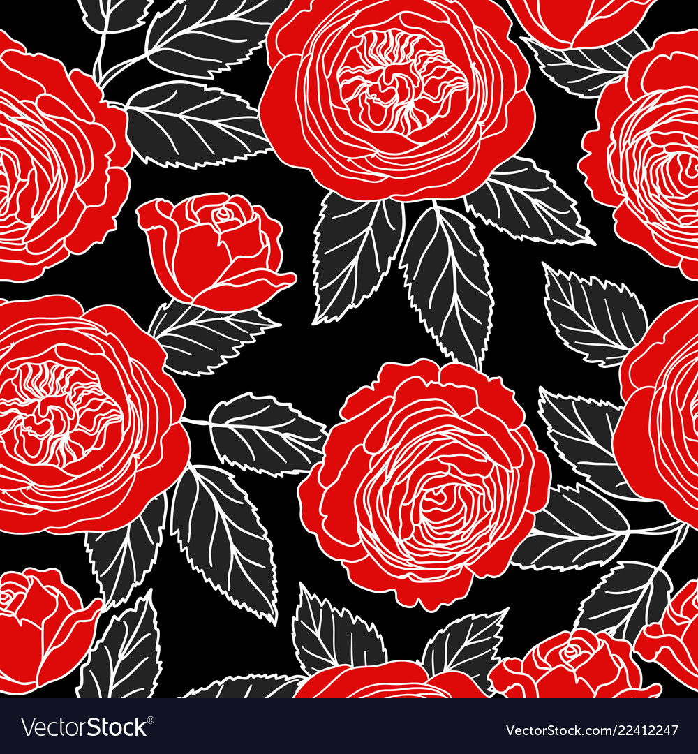 Seamless pattern with graphic red roses