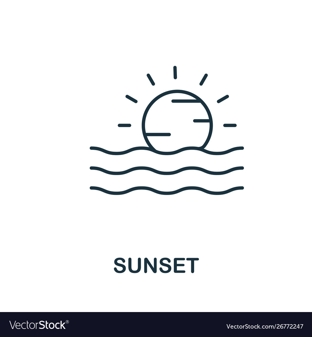 Sunset outline icon thin line concept element