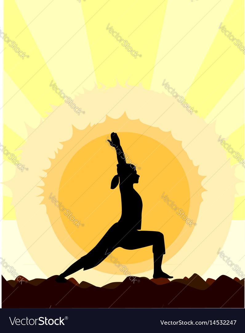Yoga Warrior Pose Vector Image