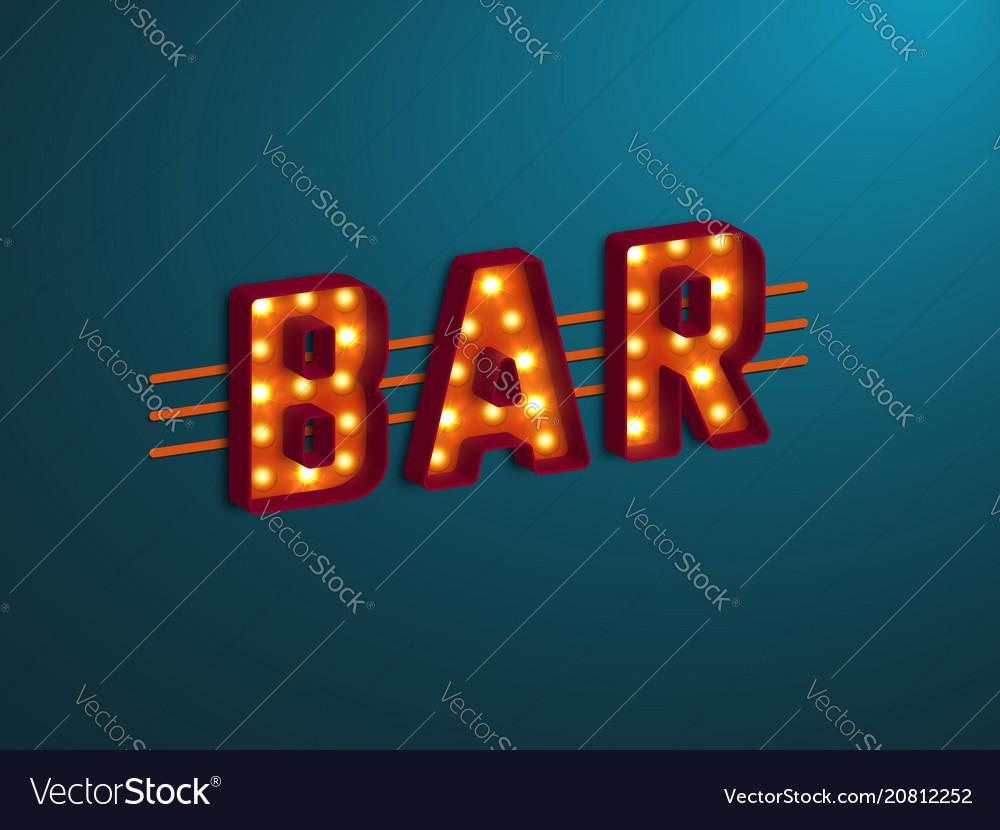 3d retro bar sign