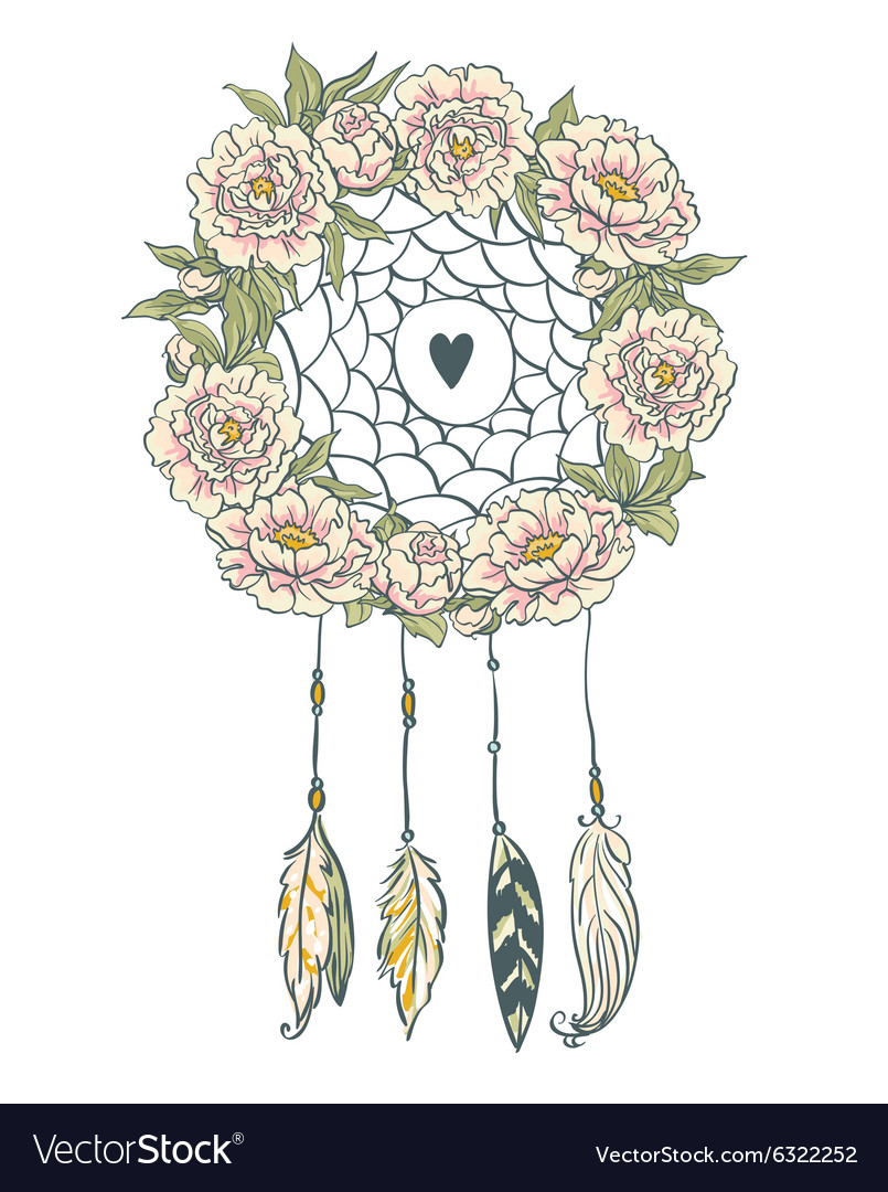 Boho style background Peonies feathers and leaves