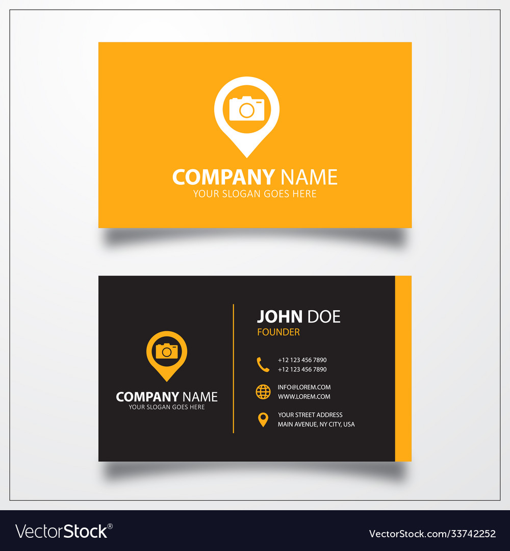 Camera with pin icon business card template