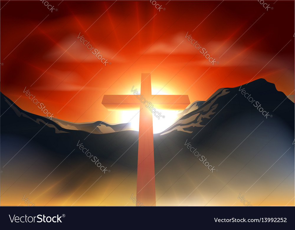 Christian easter cross concept vector image