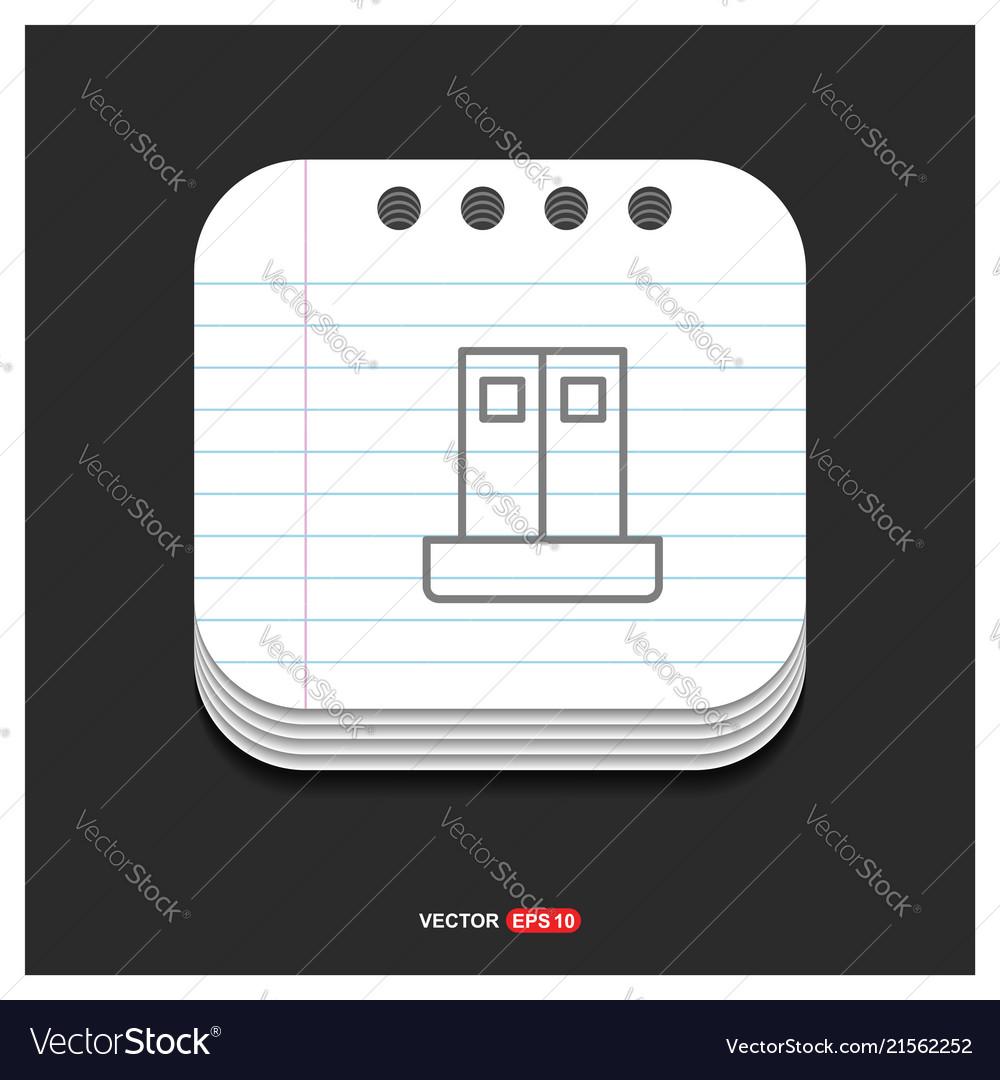 Cupboard wardrobe icon gray icon on notepad style