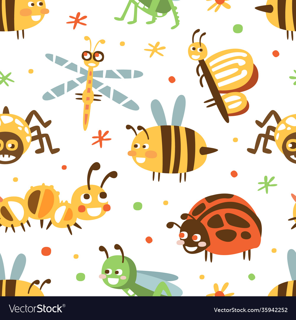 Cute insects seamless pattern fabric wallpaper