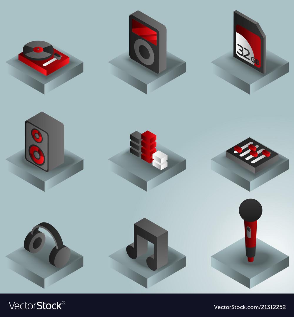 Dj color gradient isometric icons