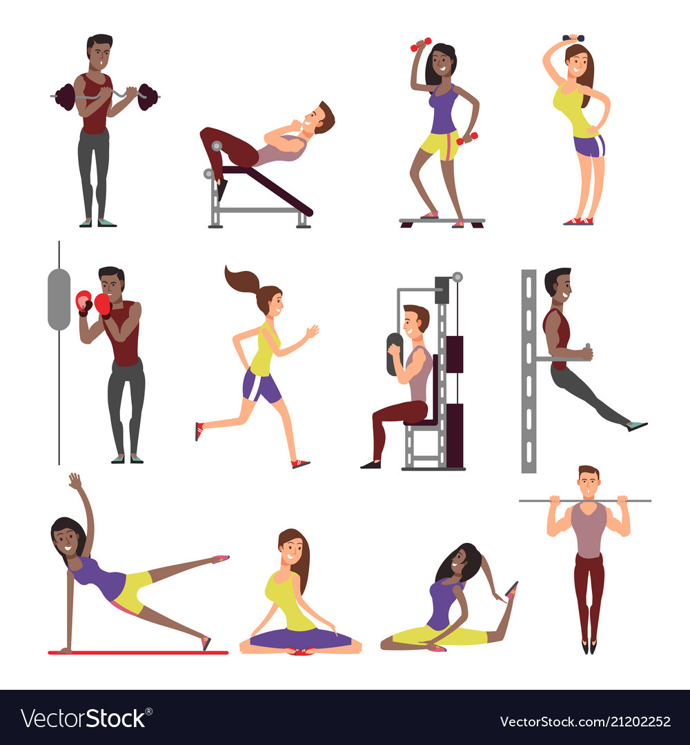 Fitness people cartoon characters set male