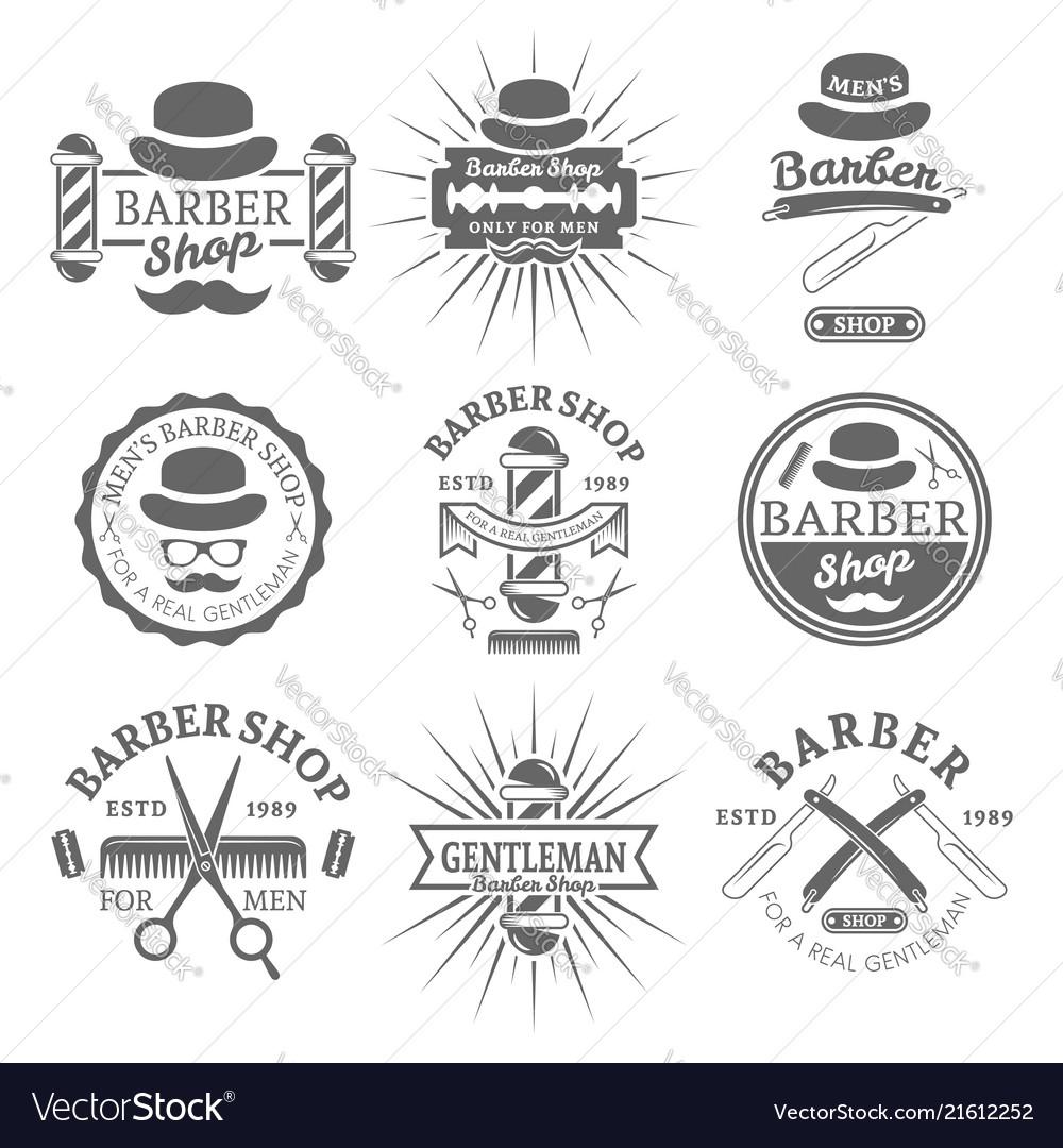 Gentleman barber shop monochrome emblems