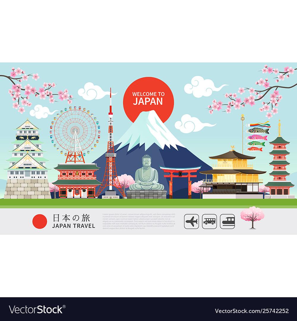 Japan famous landmarks travel banner