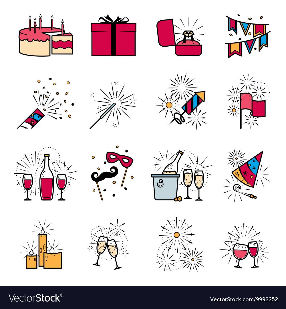 Party celebration fireworks ehgagement icons set vector image