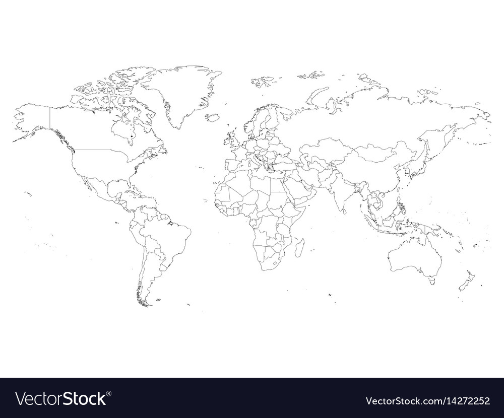 world map with country borders thin black outline vector image