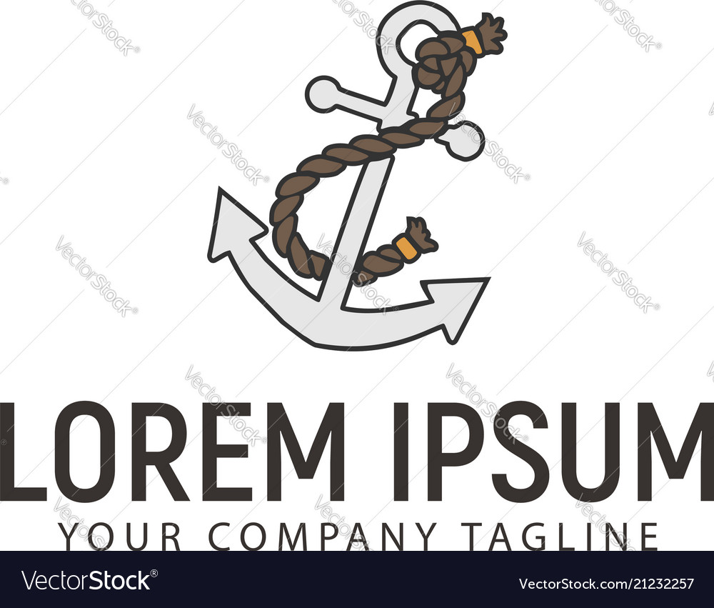 Anchors and ropes logo design concept template