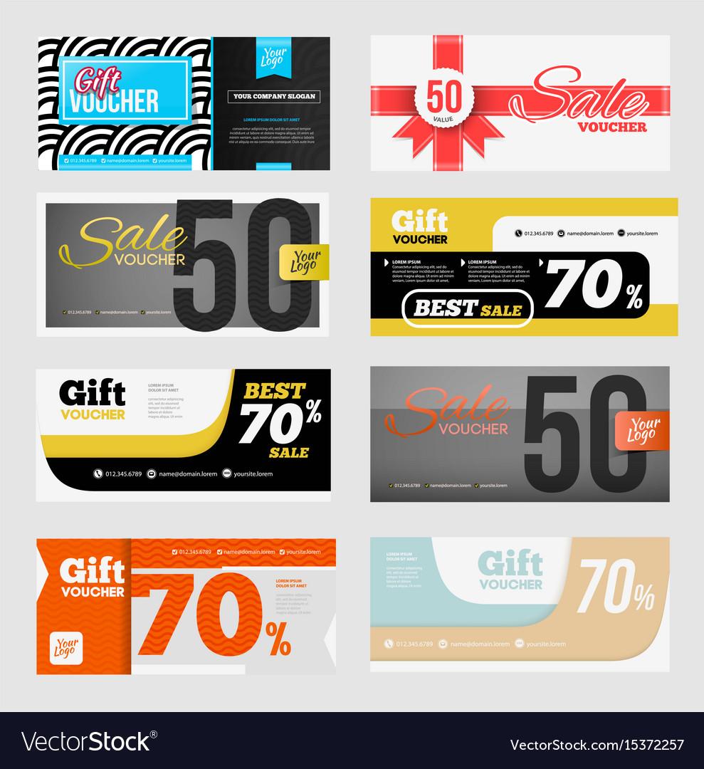 Big voucher discount template set Royalty Free Vector Image
