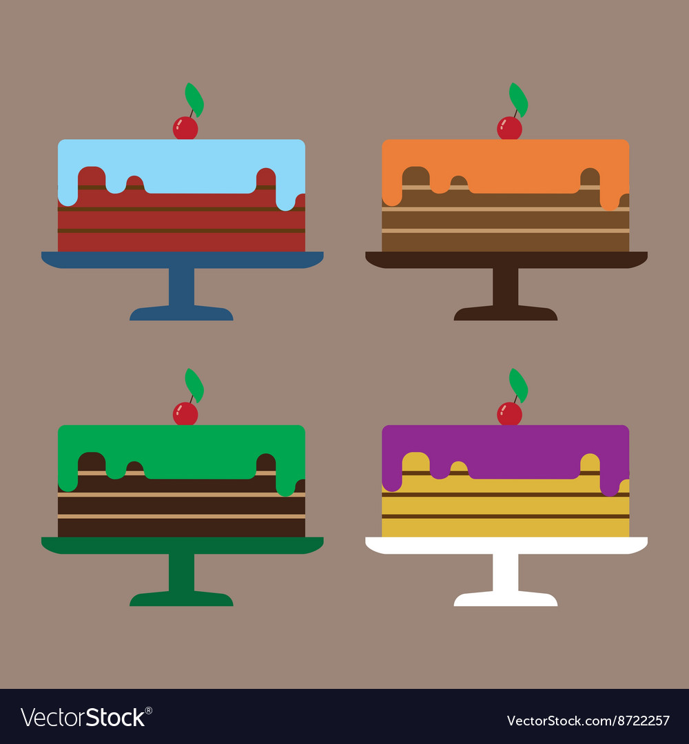 Card with four big cream layered cakes with red ch vector image