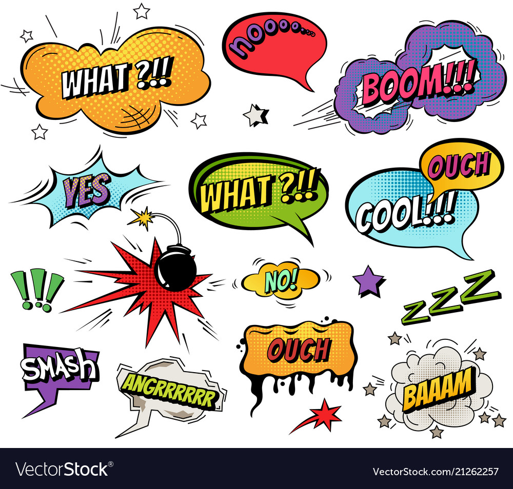 Comic speech bubbles and splashes set with